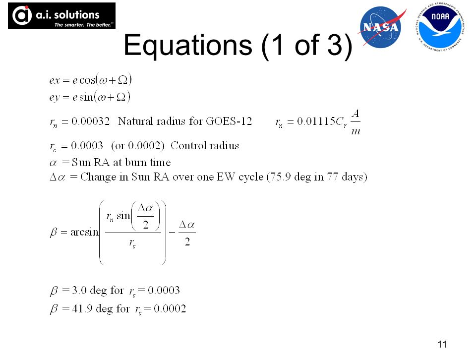 11 Equations (1 of 3)