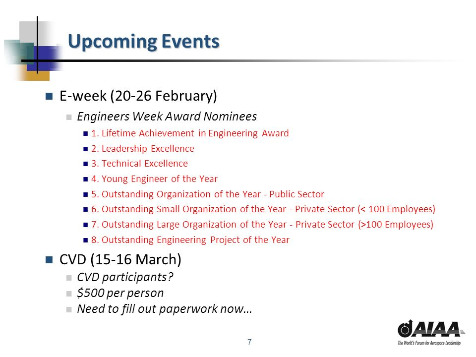 7 Upcoming Events E-week (20-26 February) Engineers Week Award Nominees 1.