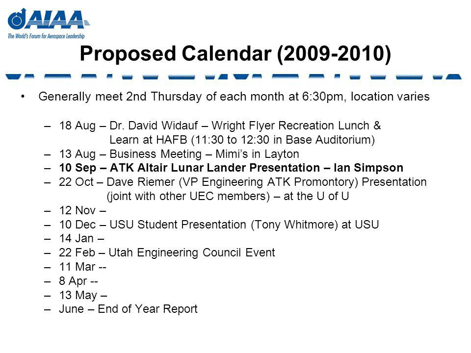 Proposed Calendar (2009-2010) Generally meet 2nd Thursday of each month at 6:30pm, location varies –18 Aug – Dr. David Widauf – Wright Flyer Recreatio