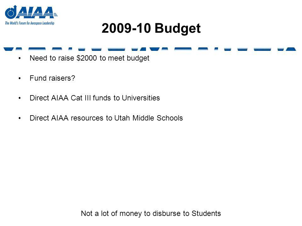 2009-10 Budget Need to raise $2000 to meet budget Fund raisers? Direct AIAA Cat III funds to Universities Direct AIAA resources to Utah Middle Schools
