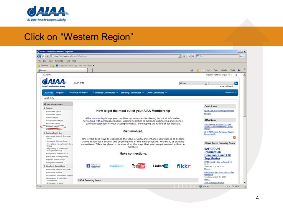 Click on Western Region 4