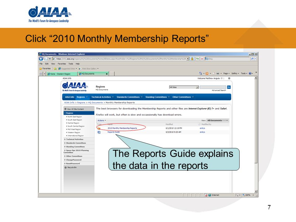 Click 2010 Monthly Membership Reports 7 The Reports Guide explains the data in the reports