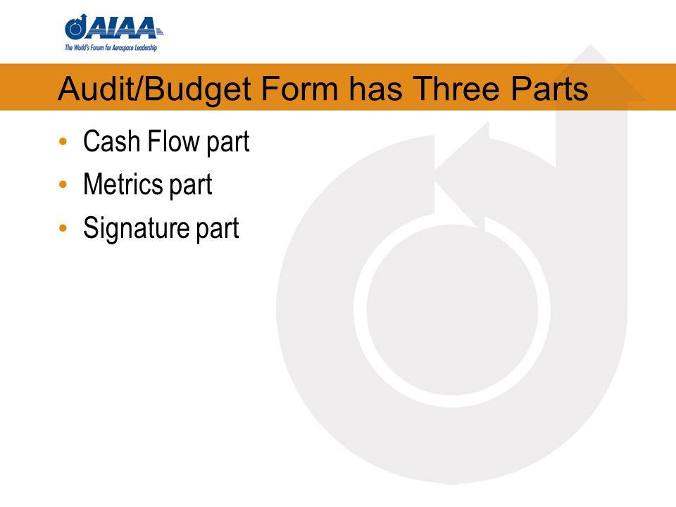 Audit/Budget Form has Three Parts Cash Flow part Metrics part Signature part