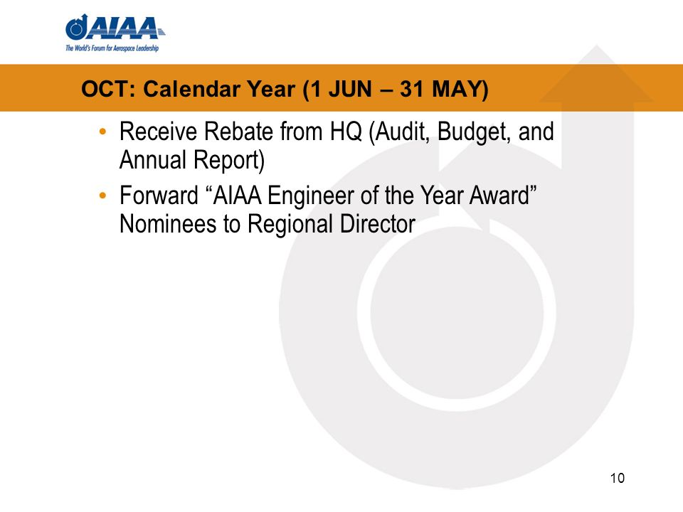 10 OCT: Calendar Year (1 JUN – 31 MAY) Receive Rebate from HQ (Audit, Budget, and Annual Report) Forward AIAA Engineer of the Year Award Nominees to Regional Director
