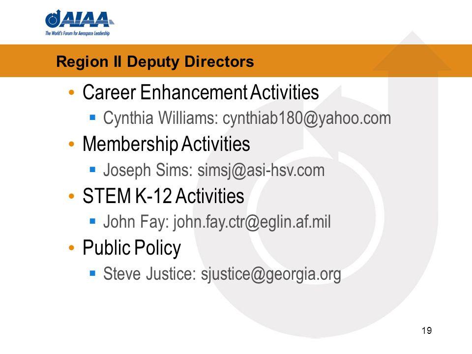 19 Region II Deputy Directors Career Enhancement Activities Cynthia Williams: cynthiab180@yahoo.com Membership Activities Joseph Sims: simsj@asi-hsv.c