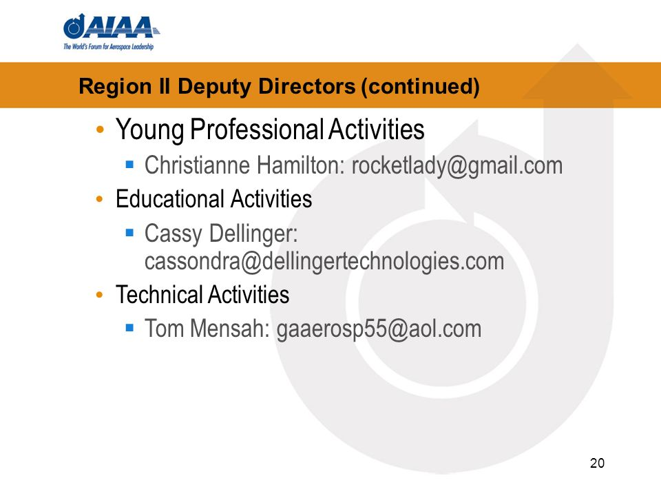20 Region II Deputy Directors (continued) Young Professional Activities Christianne Hamilton: rocketlady@gmail.com Educational Activities Cassy Dellinger: cassondra@dellingertechnologies.com Technical Activities Tom Mensah: gaaerosp55@aol.com