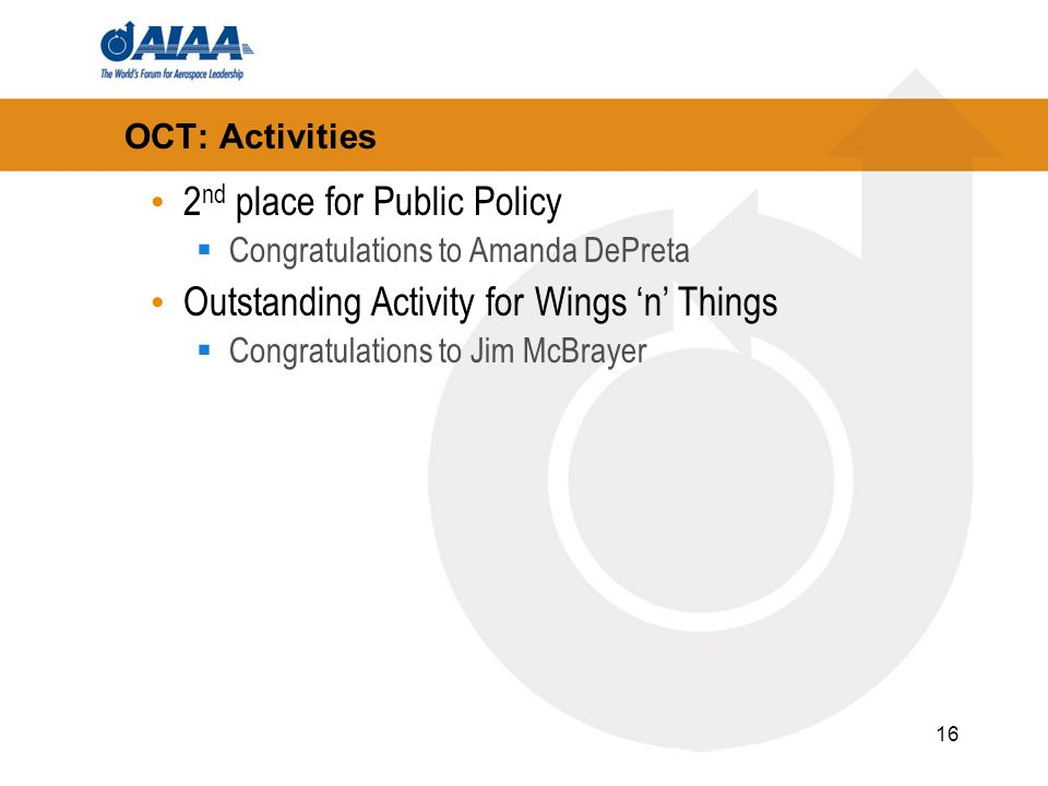 16 OCT: Activities 2 nd place for Public Policy Congratulations to Amanda DePreta Outstanding Activity for Wings n Things Congratulations to Jim McBrayer