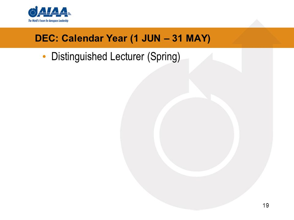 19 DEC: Calendar Year (1 JUN – 31 MAY) Distinguished Lecturer (Spring)