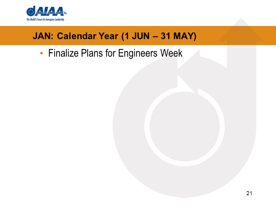 21 JAN: Calendar Year (1 JUN – 31 MAY) Finalize Plans for Engineers Week