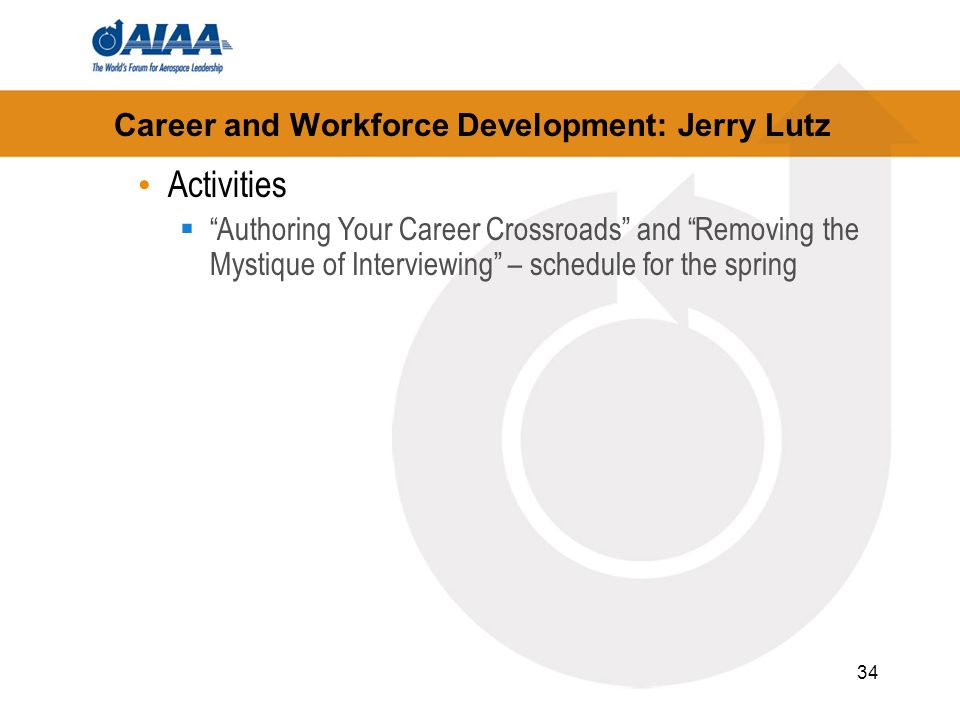 34 Career and Workforce Development: Jerry Lutz Activities Authoring Your Career Crossroads and Removing the Mystique of Interviewing – schedule for the spring