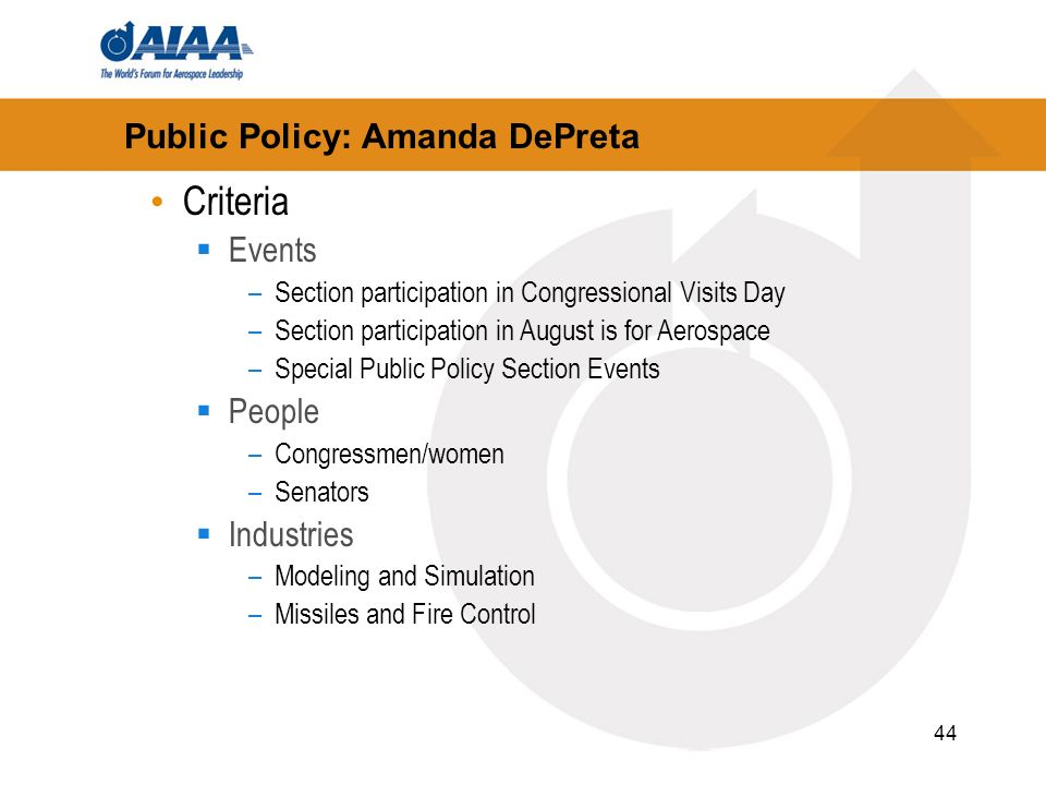 44 Public Policy: Amanda DePreta Criteria Events –Section participation in Congressional Visits Day –Section participation in August is for Aerospace –Special Public Policy Section Events People –Congressmen/women –Senators Industries –Modeling and Simulation –Missiles and Fire Control