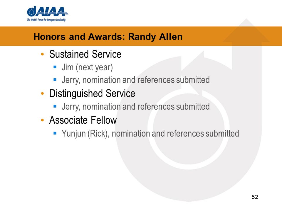 52 Honors and Awards: Randy Allen Sustained Service Jim (next year) Jerry, nomination and references submitted Distinguished Service Jerry, nomination and references submitted Associate Fellow Yunjun (Rick), nomination and references submitted