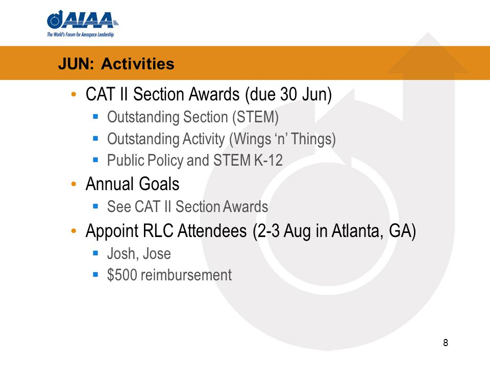 8 JUN: Activities CAT II Section Awards (due 30 Jun) Outstanding Section (STEM) Outstanding Activity (Wings n Things) Public Policy and STEM K-12 Annual Goals See CAT II Section Awards Appoint RLC Attendees (2-3 Aug in Atlanta, GA) Josh, Jose $500 reimbursement