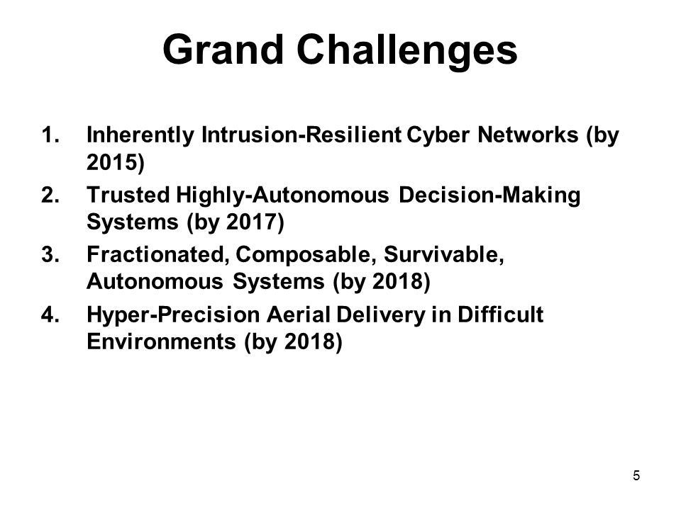 5 Grand Challenges 1.Inherently Intrusion-Resilient Cyber Networks (by 2015) 2.Trusted Highly-Autonomous Decision-Making Systems (by 2017) 3.Fractionated, Composable, Survivable, Autonomous Systems (by 2018) 4.Hyper-Precision Aerial Delivery in Difficult Environments (by 2018)