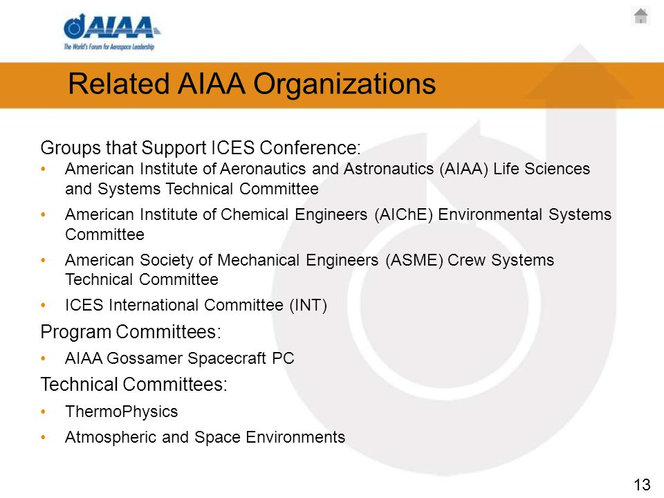 13 Related AIAA Organizations Groups that Support ICES Conference: American Institute of Aeronautics and Astronautics (AIAA) Life Sciences and Systems Technical Committee American Institute of Chemical Engineers (AIChE) Environmental Systems Committee American Society of Mechanical Engineers (ASME) Crew Systems Technical Committee ICES International Committee (INT) Program Committees: AIAA Gossamer Spacecraft PC Technical Committees: ThermoPhysics Atmospheric and Space Environments
