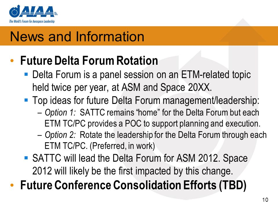 News and Information Future Delta Forum Rotation Delta Forum is a panel session on an ETM-related topic held twice per year, at ASM and Space 20XX.
