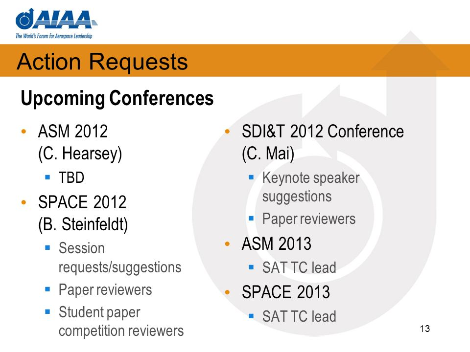 Action Requests ASM 2012 (C. Hearsey) TBD SPACE 2012 (B.