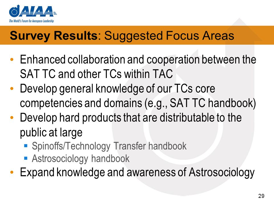 Survey Results: Suggested Focus Areas Enhanced collaboration and cooperation between the SAT TC and other TCs within TAC Develop general knowledge of our TCs core competencies and domains (e.g., SAT TC handbook) Develop hard products that are distributable to the public at large Spinoffs/Technology Transfer handbook Astrosociology handbook Expand knowledge and awareness of Astrosociology 29