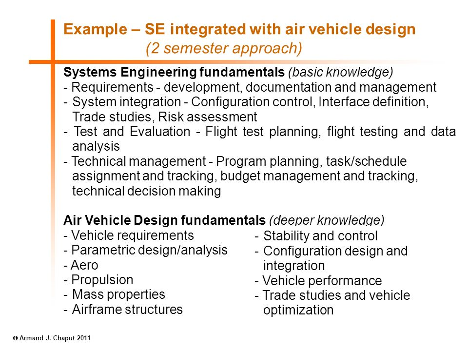 Example – SE integrated with air vehicle design (2 semester approach) Systems Engineering fundamentals (basic knowledge) - Requirements - development,