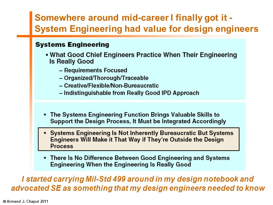 Somewhere around mid-career I finally got it - System Engineering had value for design engineers I started carrying Mil-Std 499 around in my design no