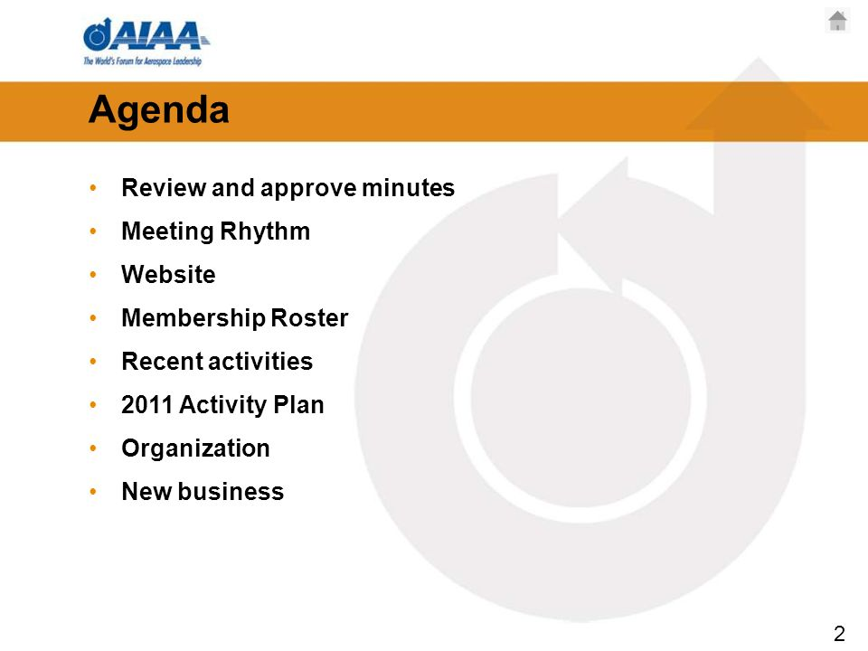 2 Agenda Review and approve minutes Meeting Rhythm Website Membership Roster Recent activities 2011 Activity Plan Organization New business