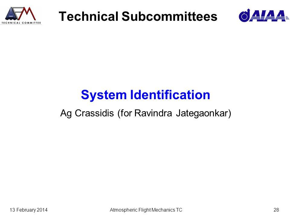 13 February 2014Atmospheric Flight Mechanics TC28 Technical Subcommittees System Identification Ag Crassidis (for Ravindra Jategaonkar)