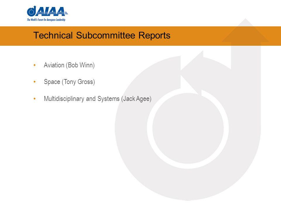 Technical Subcommittee Reports Aviation (Bob Winn) Space (Tony Gross) Multidisciplinary and Systems (Jack Agee)