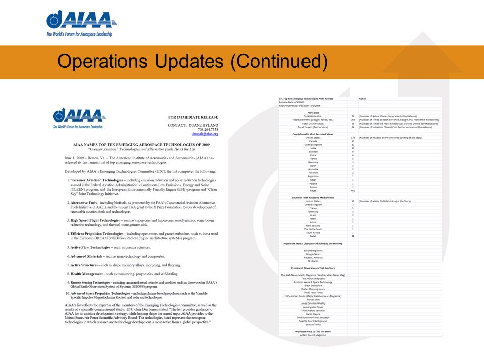 Operations Updates (Continued)