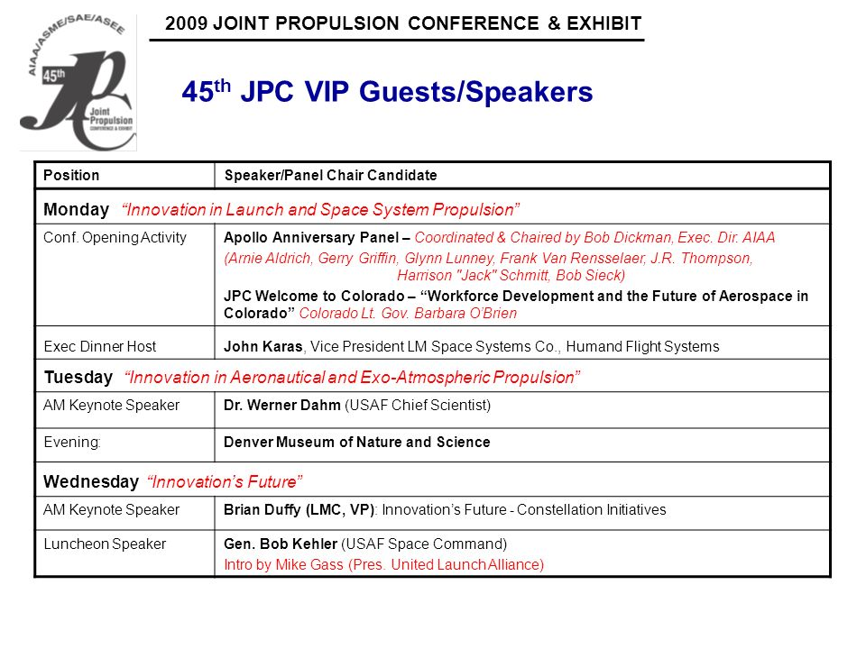 2009 JOINT PROPULSION CONFERENCE & EXHIBIT 45 th JPC VIP Guests/Speakers PositionSpeaker/Panel Chair Candidate Monday Innovation in Launch and Space S