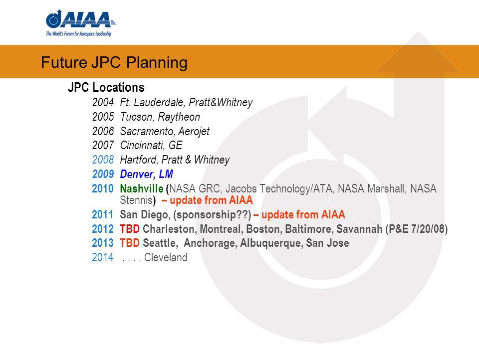 Future JPC Planning JPC Locations 2004Ft. Lauderdale, Pratt&Whitney 2005Tucson, Raytheon 2006Sacramento, Aerojet 2007Cincinnati, GE 2008Hartford, Prat