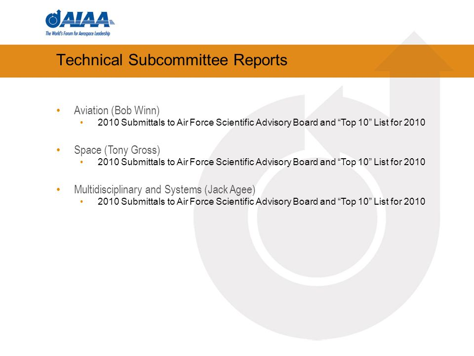 Technical Subcommittee Reports Aviation (Bob Winn) 2010 Submittals to Air Force Scientific Advisory Board and Top 10 List for 2010 Space (Tony Gross) 2010 Submittals to Air Force Scientific Advisory Board and Top 10 List for 2010 Multidisciplinary and Systems (Jack Agee) 2010 Submittals to Air Force Scientific Advisory Board and Top 10 List for 2010