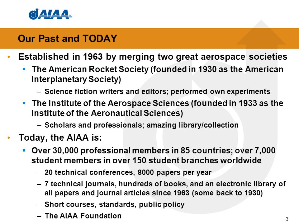 Established in 1963 by merging two great aerospace societies The American Rocket Society (founded in 1930 as the American Interplanetary Society) –Sci