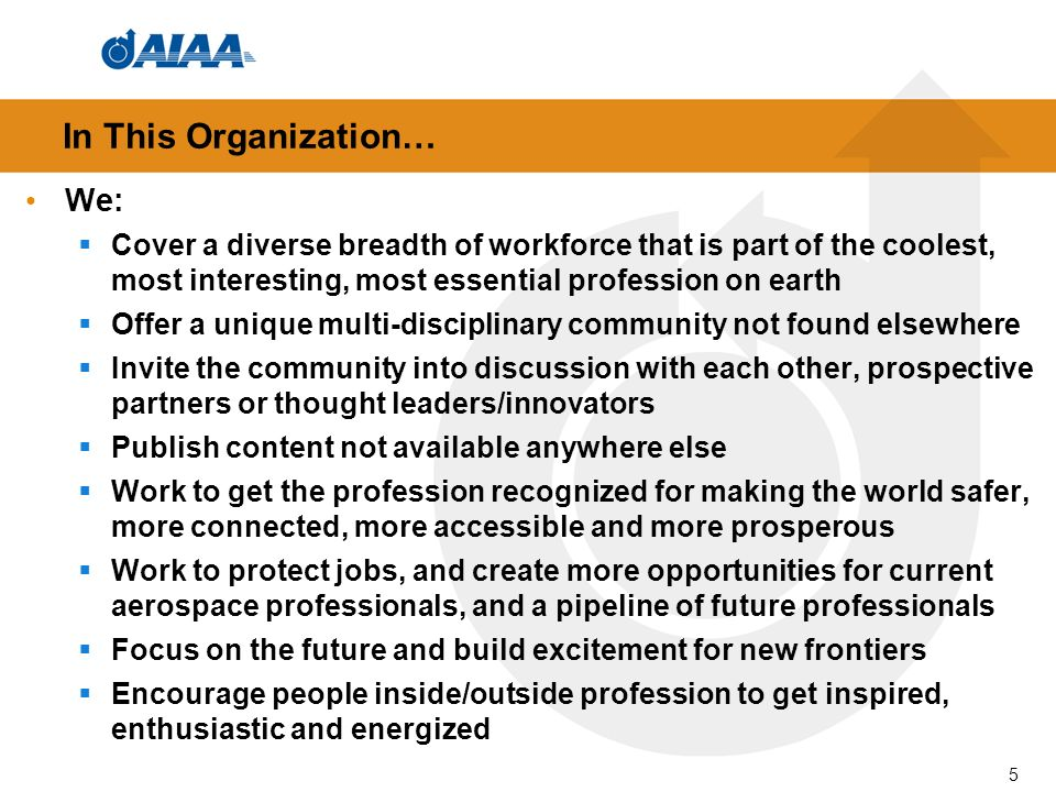 In This Organization… We: Cover a diverse breadth of workforce that is part of the coolest, most interesting, most essential profession on earth Offer a unique multi-disciplinary community not found elsewhere Invite the community into discussion with each other, prospective partners or thought leaders/innovators Publish content not available anywhere else Work to get the profession recognized for making the world safer, more connected, more accessible and more prosperous Work to protect jobs, and create more opportunities for current aerospace professionals, and a pipeline of future professionals Focus on the future and build excitement for new frontiers Encourage people inside/outside profession to get inspired, enthusiastic and energized 5