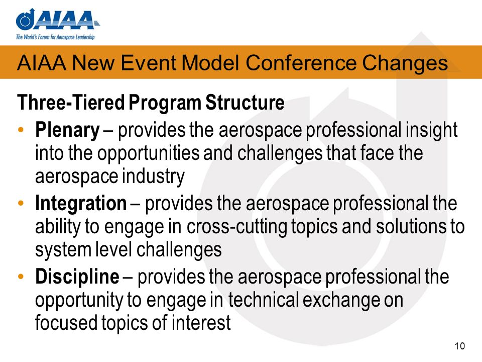 AIAA New Event Model Conference Changes Three-Tiered Program Structure Plenary – provides the aerospace professional insight into the opportunities an