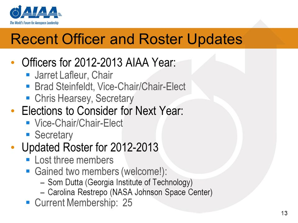 Recent Officer and Roster Updates Officers for 2012-2013 AIAA Year: Jarret Lafleur, Chair Brad Steinfeldt, Vice-Chair/Chair-Elect Chris Hearsey, Secre