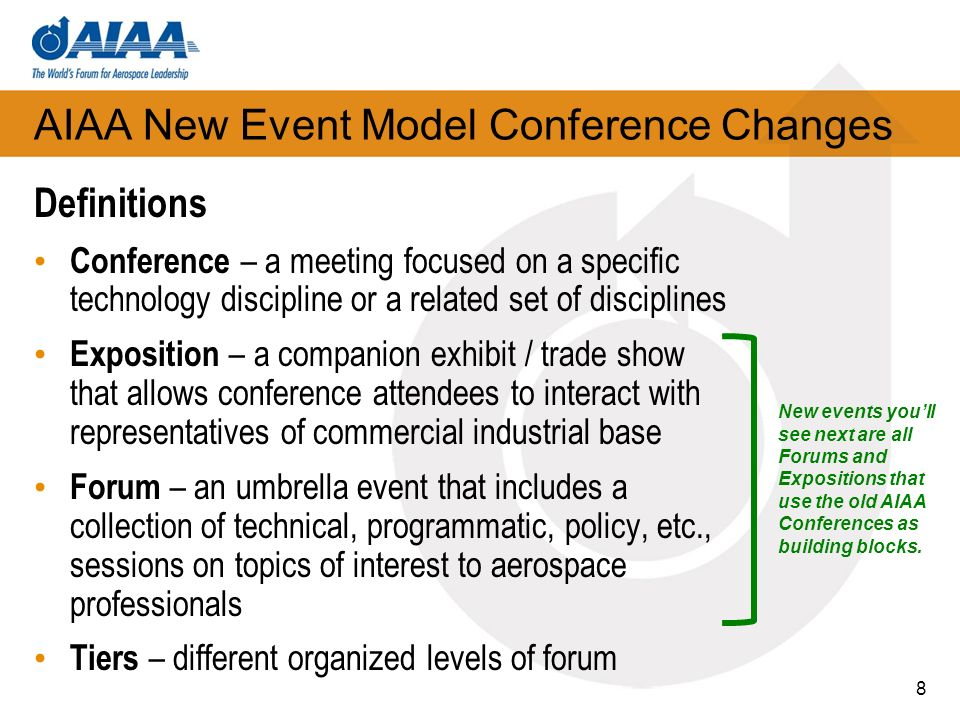 AIAA New Event Model Conference Changes 9 Winter Aerospace Science and Technology Forum and Exposition Attendance: 2,200 Open Sessions Only Focus: Advances in fundamental R&D in all areas of aerospace.