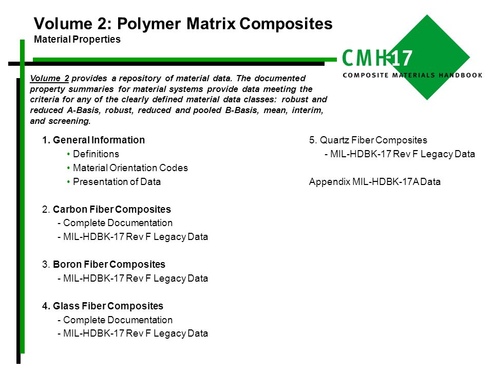 Volume 2 provides a repository of material data. The documented property summaries for material systems provide data meeting the criteria for any of t