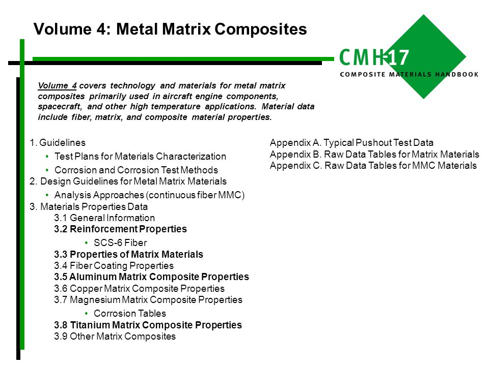 Volume 4: Metal Matrix Composites 1.Guidelines Test Plans for Materials Characterization Corrosion and Corrosion Test Methods 2. Design Guidelines for