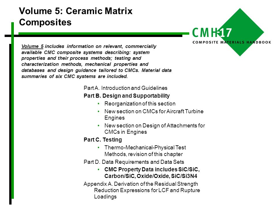 Volume 5: Ceramic Matrix Composites Part A. Introduction and Guidelines Part B. Design and Supportability Reorganization of this section New section o