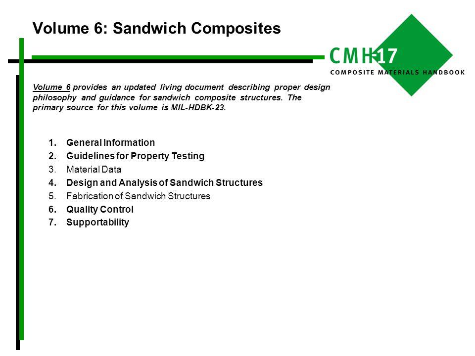 Volume 6: Sandwich Composites Volume 6 provides an updated living document describing proper design philosophy and guidance for sandwich composite str