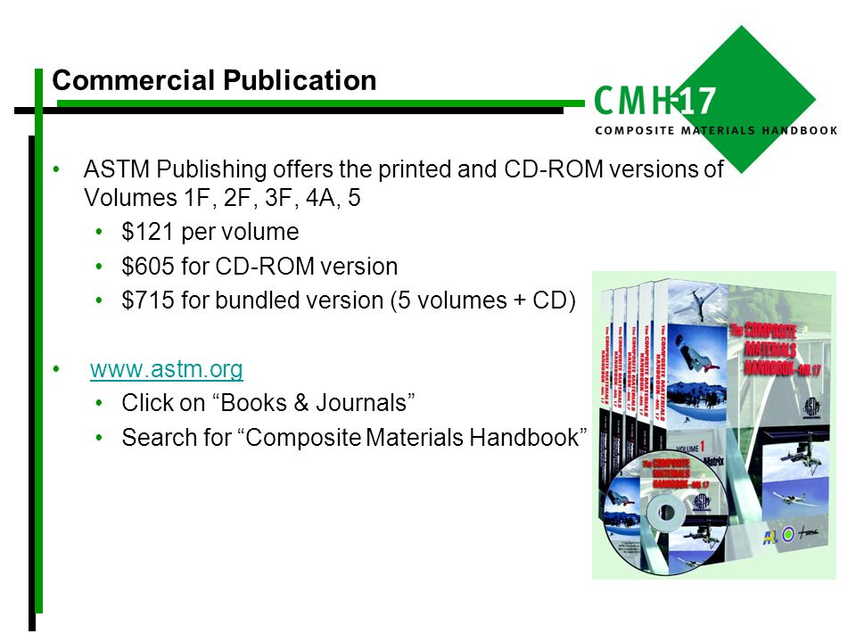 Commercial Publication ASTM Publishing offers the printed and CD-ROM versions of Volumes 1F, 2F, 3F, 4A, 5 $121 per volume $605 for CD-ROM version $71