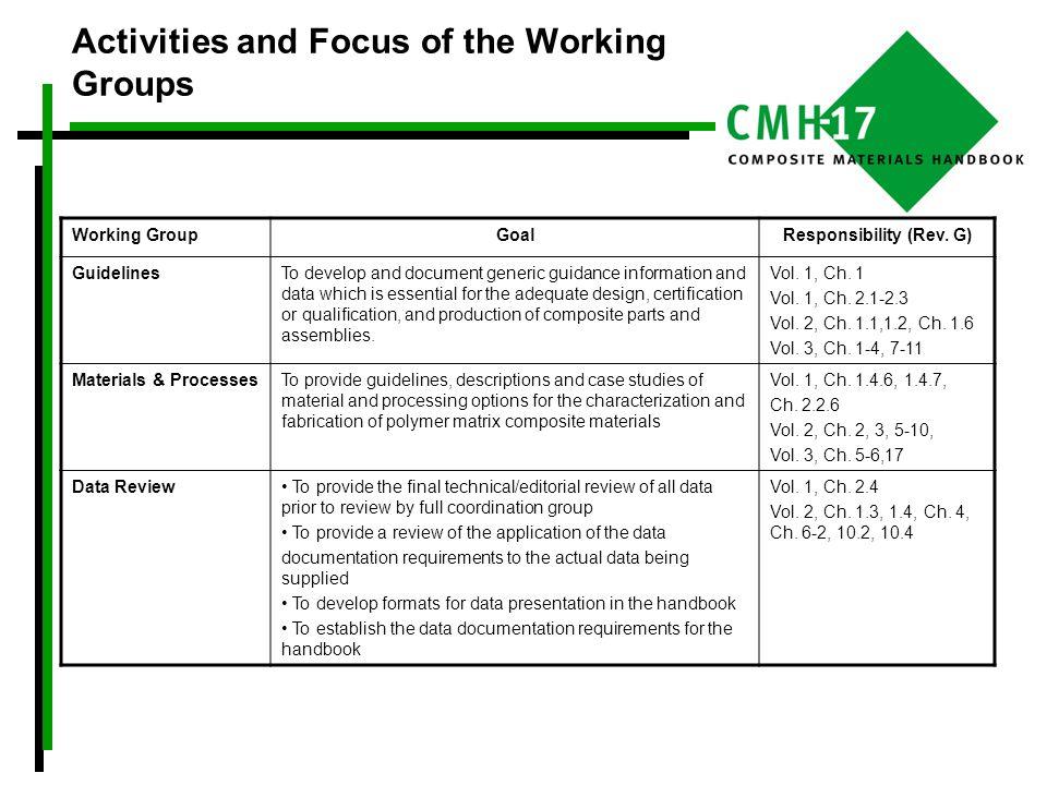 Activities and Focus of the Working Groups Working GroupGoalResponsibility (Rev.