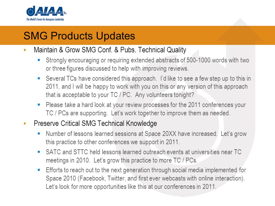 SMG Products Updates Maintain & Grow SMG Conf. & Pubs.