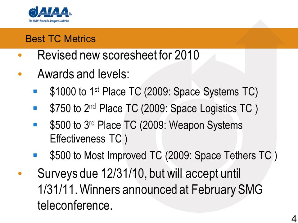 Best TC Metrics Revised new scoresheet for 2010 Awards and levels: $1000 to 1 st Place TC (2009: Space Systems TC) $750 to 2 nd Place TC (2009: Space