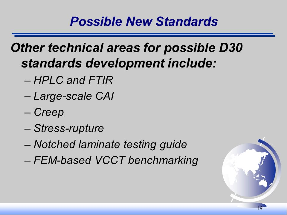 19 Possible New Standards Other technical areas for possible D30 standards development include: –HPLC and FTIR –Large-scale CAI –Creep –Stress-rupture