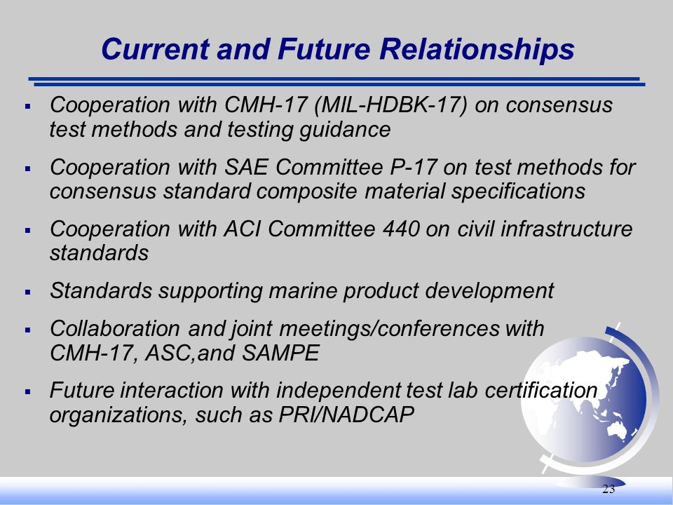 23 Current and Future Relationships Cooperation with CMH-17 (MIL-HDBK-17) on consensus test methods and testing guidance Cooperation with SAE Committe