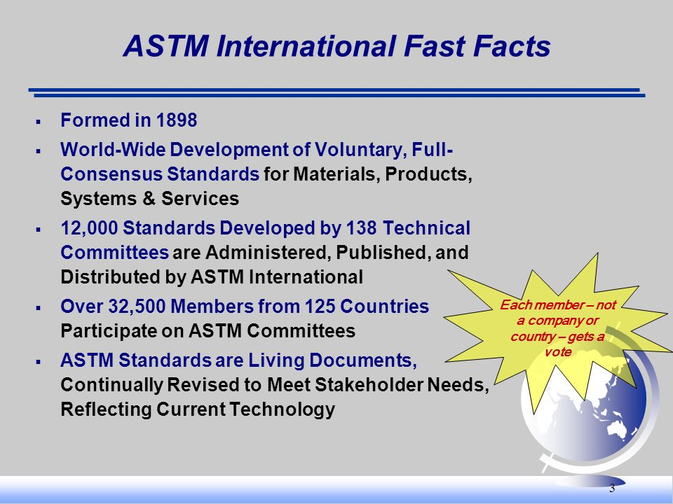 3 ASTM International Fast Facts Formed in 1898 World-Wide Development of Voluntary, Full- Consensus Standards for Materials, Products, Systems & Servi