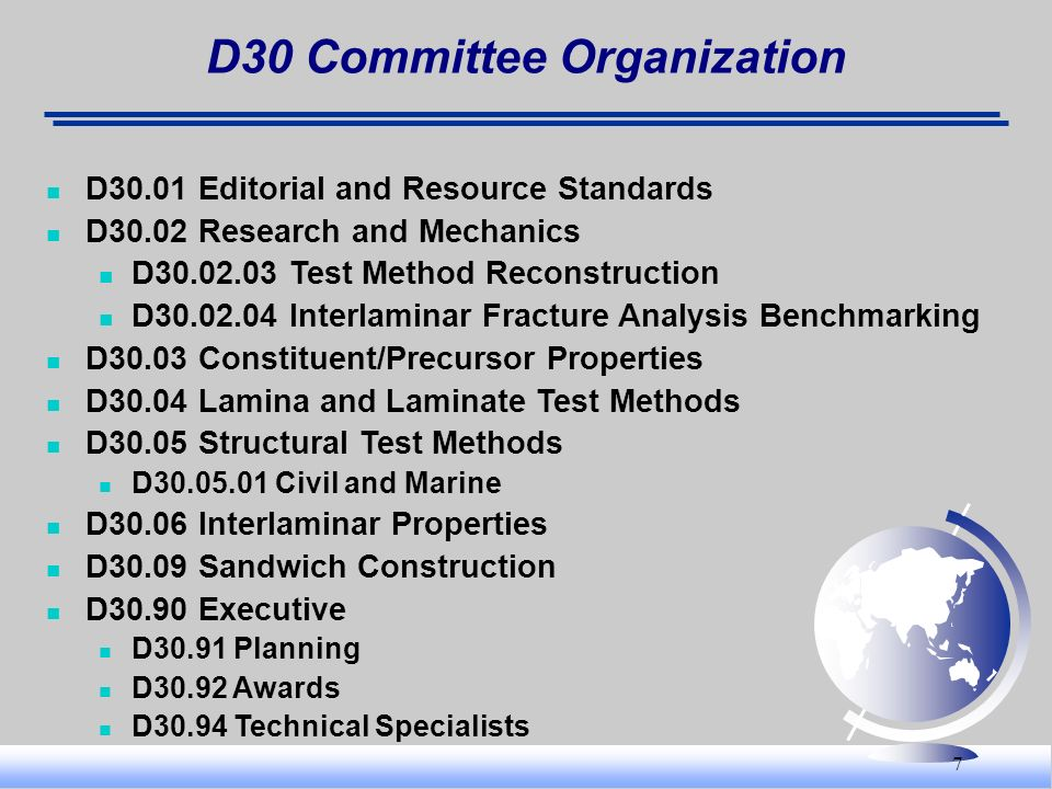 7 D30 Committee Organization D30.01 Editorial and Resource Standards D30.02 Research and Mechanics D30.02.03 Test Method Reconstruction D30.02.04 Inte