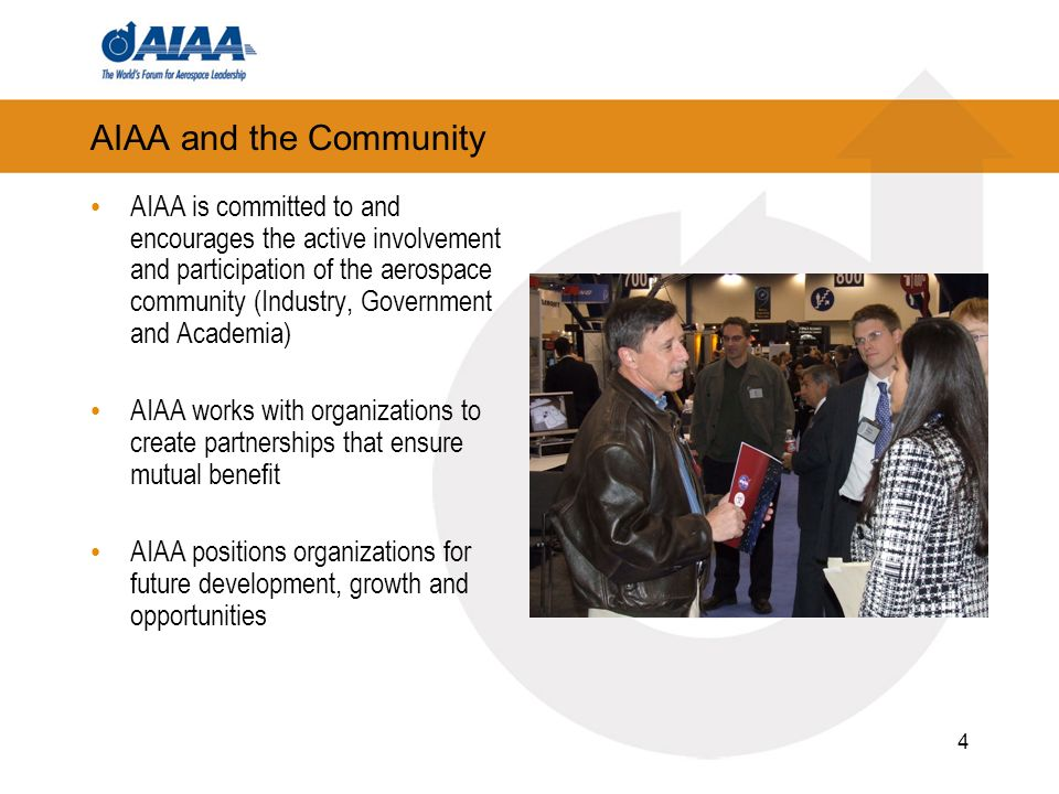 4 AIAA and the Community AIAA is committed to and encourages the active involvement and participation of the aerospace community (Industry, Government