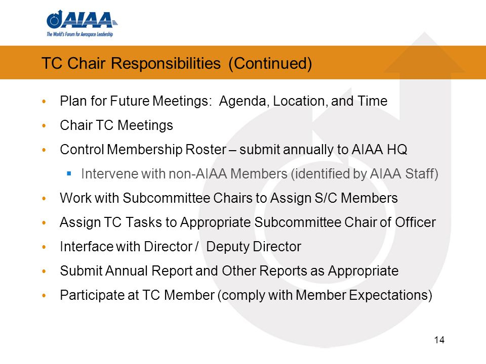 14 TC Chair Responsibilities (Continued) Plan for Future Meetings: Agenda, Location, and Time Chair TC Meetings Control Membership Roster – submit annually to AIAA HQ Intervene with non-AIAA Members (identified by AIAA Staff) Work with Subcommittee Chairs to Assign S/C Members Assign TC Tasks to Appropriate Subcommittee Chair of Officer Interface with Director / Deputy Director Submit Annual Report and Other Reports as Appropriate Participate at TC Member (comply with Member Expectations)